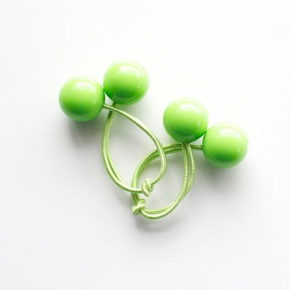 LIGHT GREEN bobbles. Hair ties. Elastic hair ties. Funky. Light Green. Retro style hair bobbles. Retro Hair Accessories