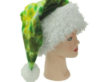 Tie Dye Santa Hat, Green Christmas Cap, Organic Bamboo Velour Winter Wear, Trippy Holiday Hat
