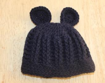 Crochet Ribbed Baby Bear Hat