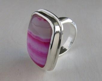 Pink Striped Agate Ring - Pink Stone Ring - Chunky Gemstone Ring - Pink Statement Ring - Big Agate Ring - Pink Ring - Rectangular Stone Ring