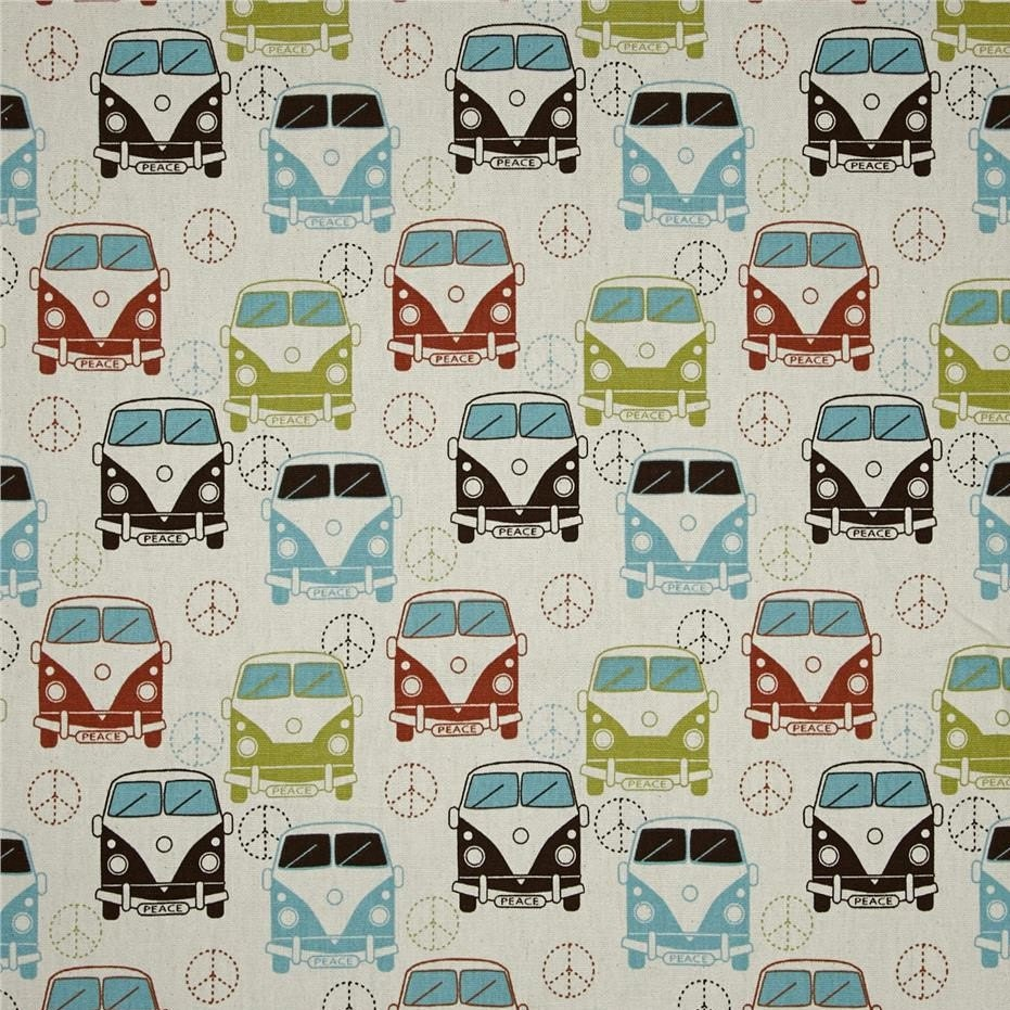 Retro van fabric 2 2 yards 80 inches peace van home for Children s furnishing fabrics