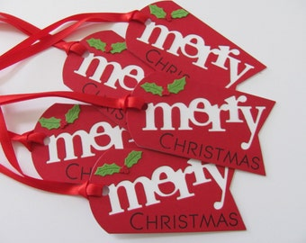 Christmas Tags, Christmas Gift Tags, Christmas Decorations, Red Christmas Tags, Holiday Gift Tags, Merry Christmas Gift Tags, Gift Tags