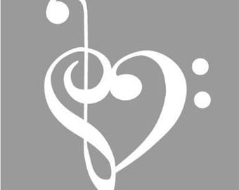 "Bass and Treble Clef Heart 5"" Vinyl Decal Widow Sticker for Car, Truck, Motorcycle, Laptop, Ipad, Window, Wall, ETC"