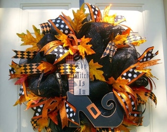 On Sale all items Halloween Witch Wreath,  Halloween Wreath,  Fall Wreath,  Deco Mesh Wreath, Witch Shoe Wreath, Orange and Black Wreath