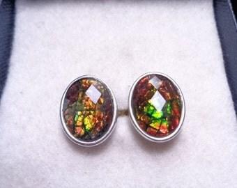 Fabulous Faceted Ammolite Multi-Colored Cufflinks