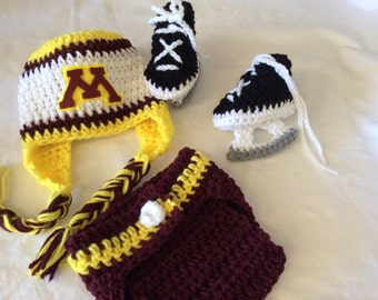 Minnesota Golden Gophers - Baby Crochet Hockey Earflap Hat, Diaper Cover, and Skate Booties.