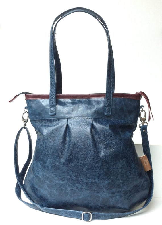 Leather tote bag,blue leather shopper,large leather bag,cross body bag
