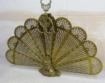 Brass Fireplace Screen, Art Deco, Hollywood Regency