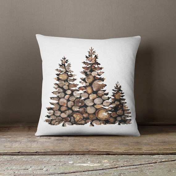 Cabin Decor Tree Pillow Decorative Pillow Custom Log Pillow