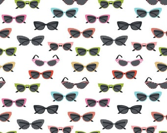 "Riley Blake Designs ""Novelty"" by Samantha Walker 100% cotton - #C4553-WHITE - Glasses."