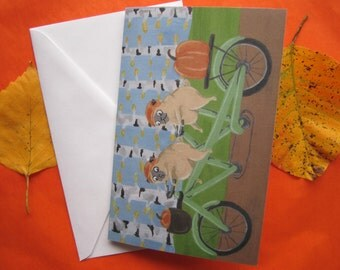 Pugs on a Bike Ride Greeting Card, Fawn Pugs with Pumpkins, Pug Greeting Card by Amber Maki