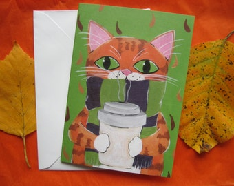 Orange Tabby Cat with Coffee Greeting Card, Tabby Cat with Coffee Card, Tabby Cat Autumn Greeting Card by Amber Maki