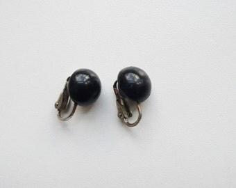 Vintage Black Half Dome Earrings   clip on