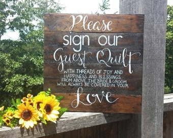 """Please Sign Our Guest Quilt Pallet Wood Wedding Sign Hand Painted 16x16"""""""