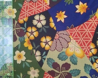 Flowered multicolor fabric - Asian inspired - by the yard