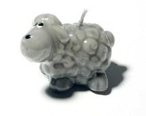 Beautiful hand made figural wax candle glossy grey sheep lamb animal