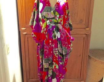 Bohemian Chic Avant Garde Op Art Vintage Alice Bell Sleeves Hippie Gown Maxi Dress