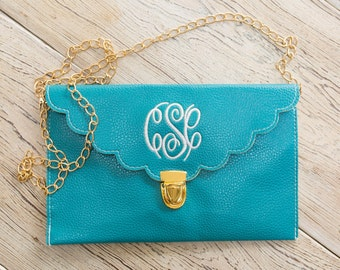 Turquoise Scalloped Monogram Clutch!