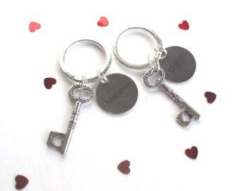 Personalised Wedding keychain set - Keys of wedlock - Engraved name keyrings - Engagement gift idea - Personalised Wedding gift