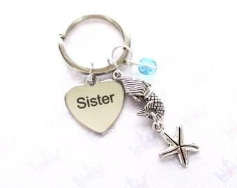 Mermaid keychain for sister - Personalised sister keyring - Sister birthday - Birthstone keyring - Mermaid keyring - Sister keychain - UK