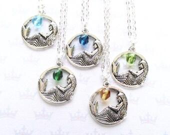 Personalised mermaid necklace with birthstone charm - Friendship gift - Mermaid best friends gift - Bridesmaid gift - Mermaid party - UK