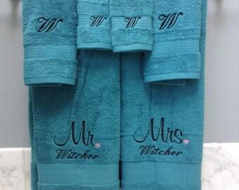 Embroidered Monogrammed Wedding Gift Towels Mr Amp Mrs Bride