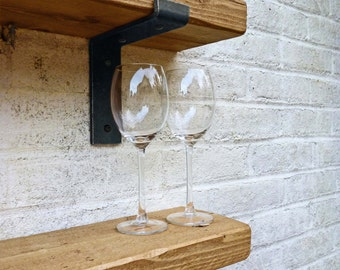 Rustic Shelves Shelf Industrial Chunky Metal Brackets Solid Wood 22cm Depth LB22