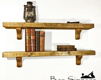 Rustic Shelf Mantel Chunky Wooden Custom Joinery Pine Corbel Brackets 15cm depth - B15