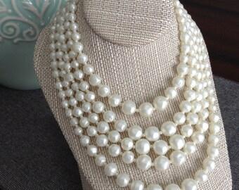 Vintage Multi-strand Faux Pearl Bridal Necklace