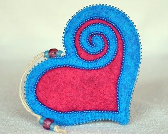Beaded Pink and Blue Wool Felt Heart Ornament #1, Mother's Day Heart, Wedding Favor, Proposal Idea, Anniversary Gift *Ready to ship