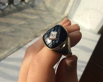 Mens solitare 10k gold ring