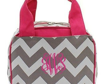 """Personalized Chevron Lunchbox Pink Gray 9"""" Insulated Cooler Lunch Bag Tote Box Lunchbag Kids Girls Thermal Picnic"""