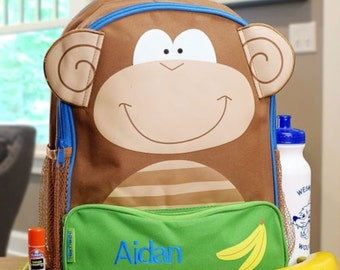 Personalized Embroidered Monkey Backpack