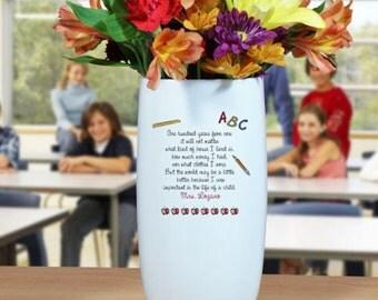 Personalized Ceramic Teacher Vase