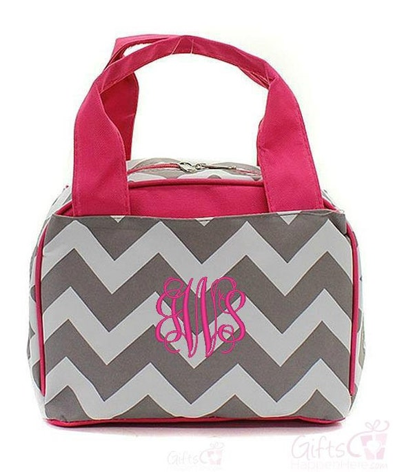 personalized chevron lunchbox pink gray 9 insulated