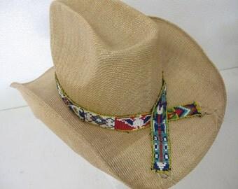 Straw Cowboy Hat Beaded Native American Headband  Cowboy Hat Summer Cowboy Rockabilly Hat