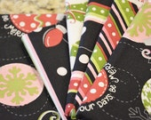 Merry and Bright by Kim Christopherson for Maywood Studios Modern Christmas Black Pink Green Red ornaments polka dots stripes small prints
