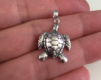 Turtle sterling silver charm pendant