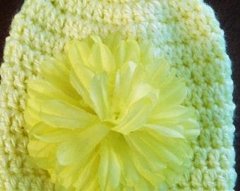 Crocheted Yellow Beanie with Yellow Flower