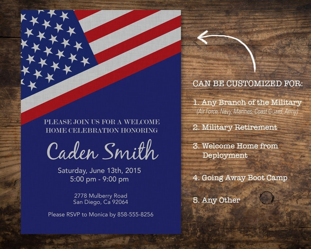 Military Welcome Home Party Invitation / Deployment Going Away