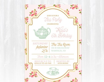 Tea Birthday Invitation DIY PRINTABLE Digital File or Print (+) High Tea Birthday Invitation High Tea Birthday Invite Tea Party Invitation
