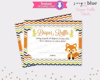 Fox Diaper Raffle Tickets Orange Grey Chevron Boy Baby Shower Games Printable Diaper Raffle Ticket DIY Printable File INSTANT DOWNLOAD