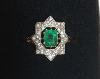 Reserved for R: Edwardian Emerald and Diamond Ring