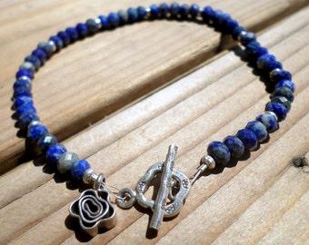 Lapis Bracelet and Hill Tribe Silver, Karen Hill Tribe Silver Flower Charm, Sterling Silver, Tennis Bracelet, Artisan Style