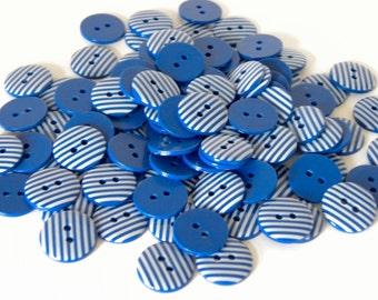 10 x 15mm Royal Blue Stripe Buttons