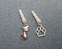 Cat phone charm, port plug, phone jack, paw print charm, mobile phone bling, smart phone, dust plug charm, pet animal,