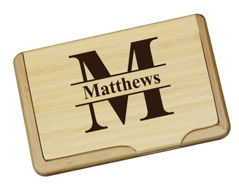 Personalized Wood Business Card Holder, Engraved Business Card Holder, Wood Business Card Case, Business Gifts, Custom Business Card Holder