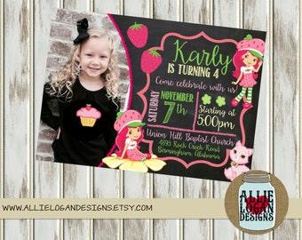 Strawberry Shortcake Birthday Invitation with Photograph - Printed or Digital!