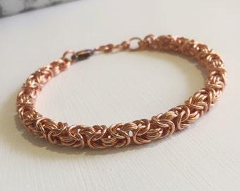 Copper Bracelet, Mens Bracelet, Mens Gift, Mens Copper Bracelet, Chainmaille, Byzantine Jewelry, Copper Bracelet Men, Copper Chain Jewellery