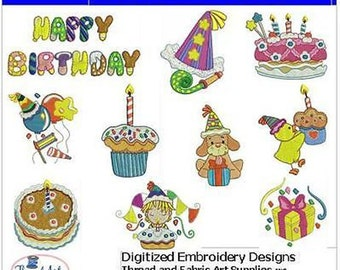 Embroidery Design CD - Happy Birthday(1) - 10 Designs - 9 Formats - Threadart